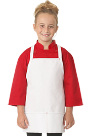 Kids White Apron with Red Stitching