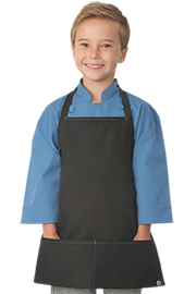 Kids Black Apron with Blue Stitching