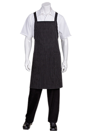 Cross-Back Bib Apron: Pinstripe