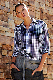 Womens Dark Navy Gingham Dress Shirt