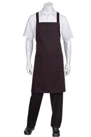 Cross-Back Bib Apron: Red Pinstripe